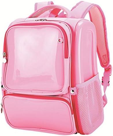 小学校の男の子と女の子のバックパック(ブルー)防水ファッションミラーレザーリッジリッジバックパック (色 : Pink)