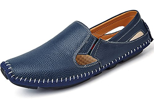 (Navy Blue Mens Slip on Walking Shoes for 2018 Penny Loafers Premium Genuine Cow Leather Flats Casual Sneakers Size 13 (932-blue-47))