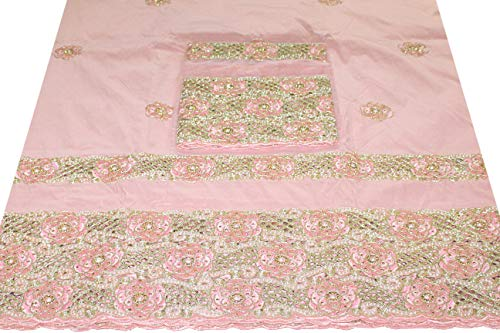 Bead Embellished Blouse (Embroidered Taffeta Silk Beads Embellished George Fabric/Wrapper with Blouse 11594/5/29 (Peach))