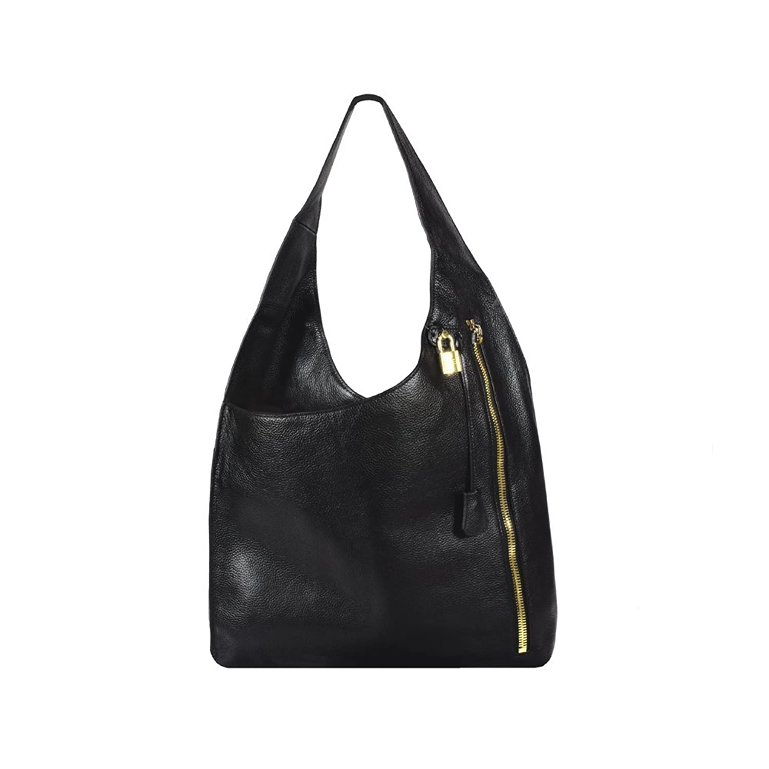 'Gisella2' Cutting Edge Black Leather Pebbled Hobo Handbag by Inzi
