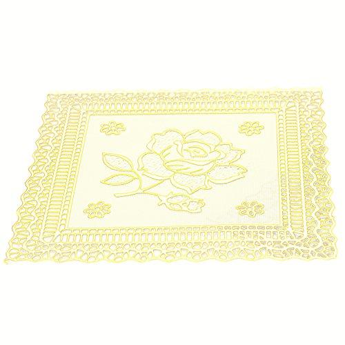 Alamana 10Pcs Kitchen PVC Gilding Coasters Cup Mat Bowl Placemats Drinks Tea Pads-Golden