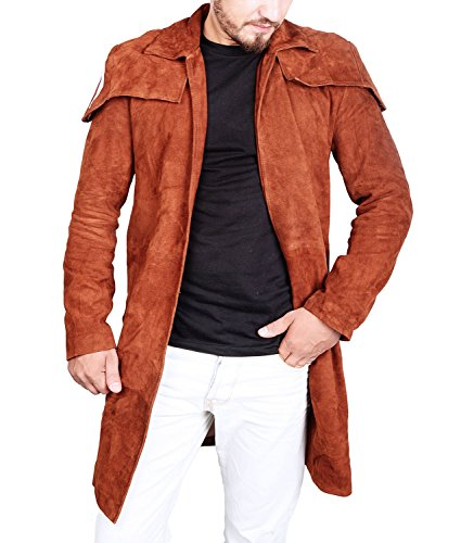 Suede Leather Car Coat (Fallout 4 Clothing Men's Brown Suede Leather Duster Trench Car Coat Jacket (XS, Brown))