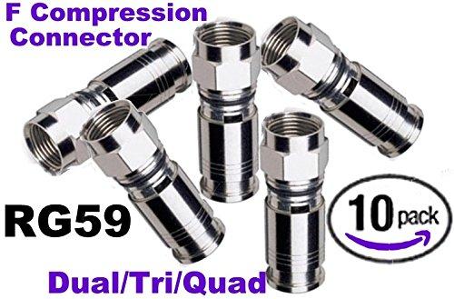 Emerson RG59 Dual/Tri/Quad F Compression Connector (10 - Dual F Connector