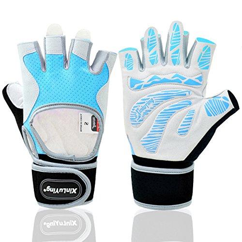 Xinluying Wrist Wraps Support Brace Bicycle Fitness Workout Gloves Men Women Silical Gel Grip Half Finger Light Blue Women Small
