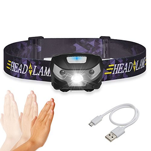 AIYYAO LED Headlamp Super Bright Premium USB Rechargeable Headlamps Waterproof Induction Headlamp Flashlight 5 Modes Comfortable Flashlight for Running Camping Reading