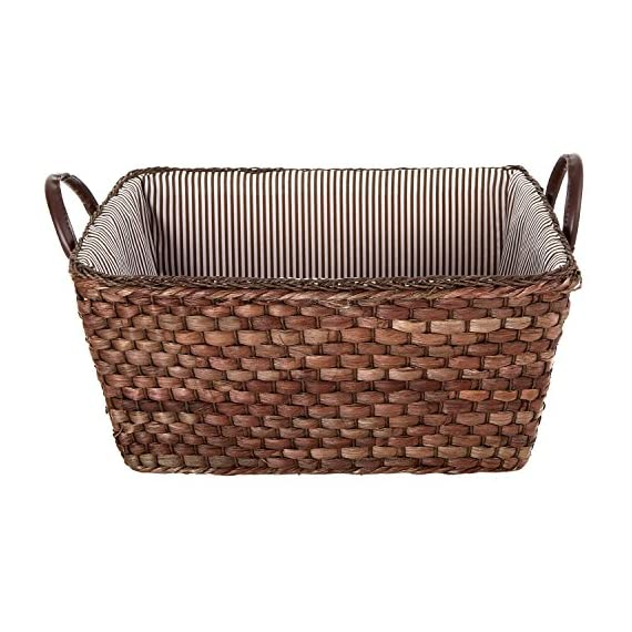 MyGift Woven Corn Leaf Basket, Fabric Lined Double Handle Storage Bin, Brown - A woven storage basket made of brown corn leaves and featuring a striped fabric interior. Features 2 sturdy top handles made of leatherette. Perfect for storing and organizing towels, toys, clothing, magazines, books, and more. - living-room-decor, living-room, baskets-storage - 51cqHkrRA L. SS570  -