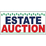 Estate Auction Blue Red DECAL STICKER Retail Store Sign Sticks to Any Surface