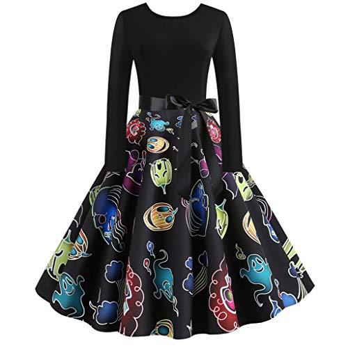Womens Halloween Vintage Printed Dress Ladies Halter Vest Swing Dresses Tie Waist Slim Tank Tops Dress