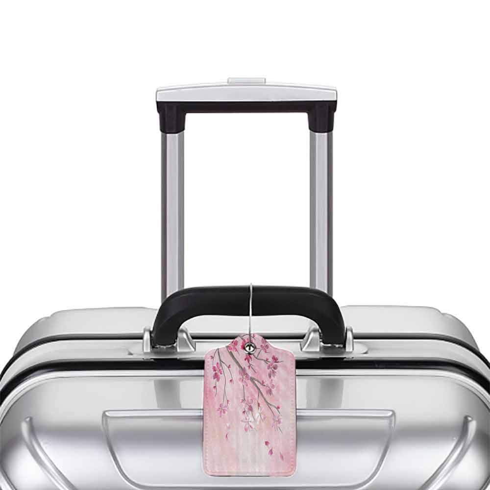 Multicolor luggage tag House Decor Illustration Of Spring Tree Branch With Blossoms Sun Beams On Blurred Background Hanging on the suitcase Pink Fuchsia W2.7 x L4.6
