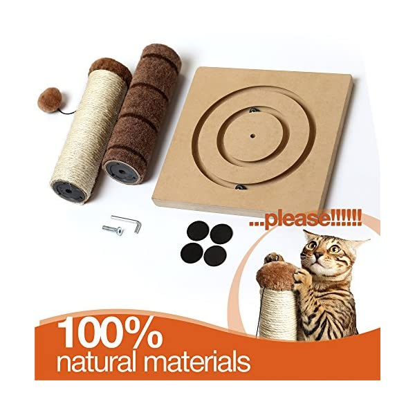 4 Paws Stuff Tall Cat Scratching Post Cat Interactive Toys - Cat Scratch Post Cats Kittens - Plush Sisal Scratch Pole Cat Scratcher - 22 inches (Beige) 5