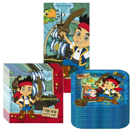 Jake & the Neverland Pirates Party Suppiles Pack Including Plates, Napkins and Tablecover- 16 Guests