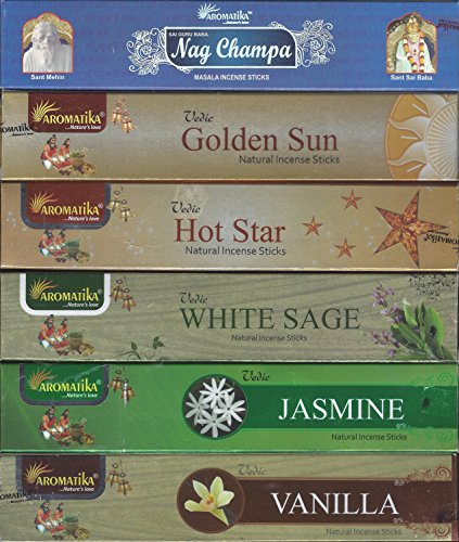 Vedic Set of 6 Nag Champa, Golden Sun, Hot Star, White Sage, Jasmine, Vanilla (Incense Holder Included)