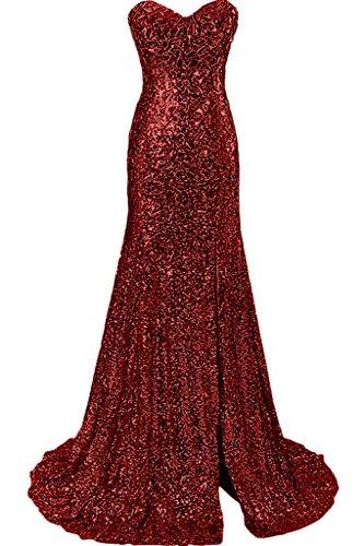 Abendkleid Herz Stil Ivydressing Damen Luxurioes Ausschnitt Meerjungfrau Promkleid Weinrot Festkleid qH8wPI
