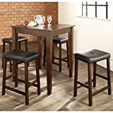 Crosley 5-Piece Pub Dining Set with Tapered Leg and Upholstered Saddle Stools