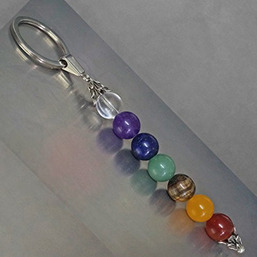 Handmade Keychain to Balance Body, Mind, Soul. 7 Healing Chakra Gemstones: Quartz, Amethyst, Lapis, Aventurine, Tiger Eye, Jade, (Gemstone Lapis Keychain)