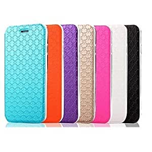 GDW 5.5 pulgadas patrón a cuadros ling caso de cuero de la PU con el soporte para el iPhone 6 Plus (colores surtidos) , Orange