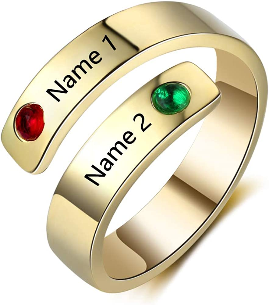 Love Jewelry Personalized Spiral Twist Ring with 2 Round Simulated Birthstones Custom Engraved Names Promise Rings for Women