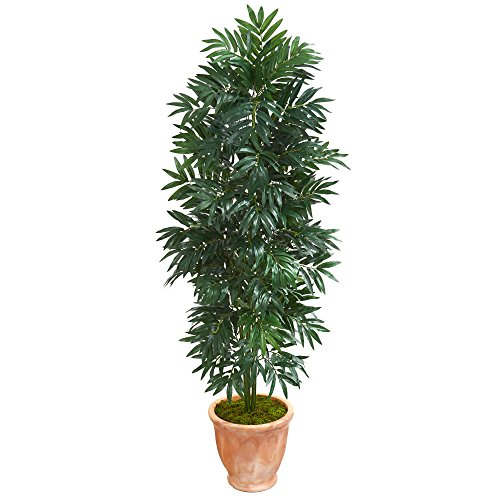 Nearly Natural 8084 5' Bamboo Palm Terra Cotta Planter Artificial Plant, Green ()