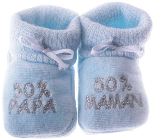 Babyschuhe, mit Stickerei '50% papa, 50% maman', für Kinder zwischen 0 und 3 Monaten, Blau/silberfarben