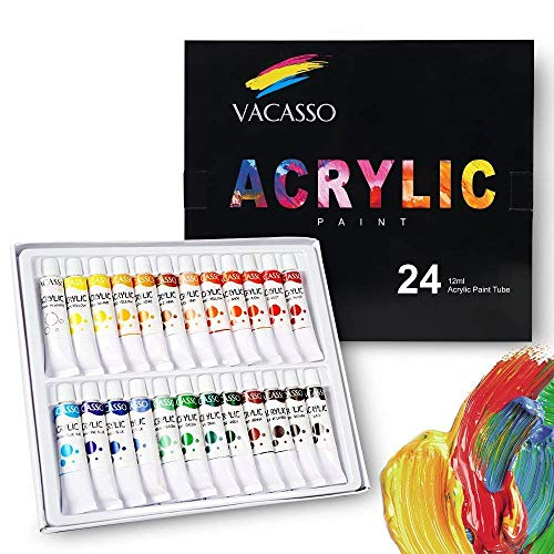 VACASSO Acrylic Paint Set Acrylic Paint with 24 Vivid Colors, Quality Start Kit for Kids & Adults, Perfect for Art Craft Painting