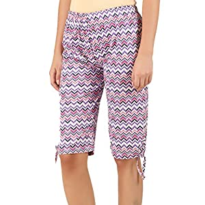 Elk Womens Cotton Printed Shorts Purple Color