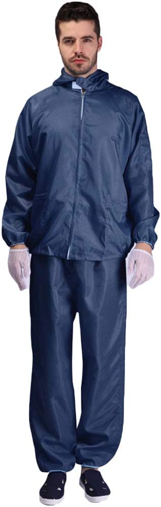 8QzJs1Tg Unisex Pockets Hooded Coat Long Pants Isolation Anti-Static Protection Suit Set Durable Protective Coverall Keep Safe and Healthy