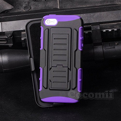 iPhone SE / 5S / 5 Case, Cocomii Robot Armor NEW [Heavy Duty] Premium Belt Clip Holster Kickstand Shockproof Hard Bumper Shell [Military Defender] Full Body Dual Layer Rugged Cover Apple (Purple)
