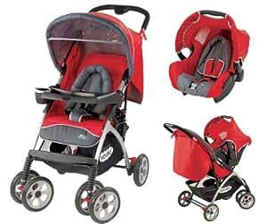 Babidéal 19583840 Travelsystem - Carrito convertible con silla de coche grupo 0+, incluye manta para los pies, cesta de la compra y capota impermeable, color gris y rojo