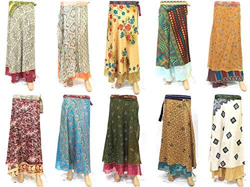 - FashionShopmart Silk Wrap Around Women's Long Skirt Wholesale 5 Pcs Lot Two Layers Women's Indian Sari Magic Wrap Around Silk Long Skirt