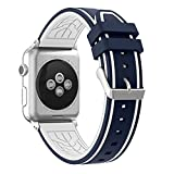 Apple Watch Band 38 Series 1 Series 2, Honest kin Soft Silicone Replacement Band Strap for Apple Watch 38mm 2015 Series 1 & 2016 Series 2 All Models(Not fit 42mm Versions) -Blue/White