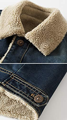 3108c8b303d HOW ON Men s Plus Cotton Warm Fur Collar Sherpa Lined Denim Jacket Button  Down Classy