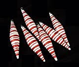 6ct Peppermint Twist Candy Cane Shatterproof Icicle Christmas Ornaments 6""