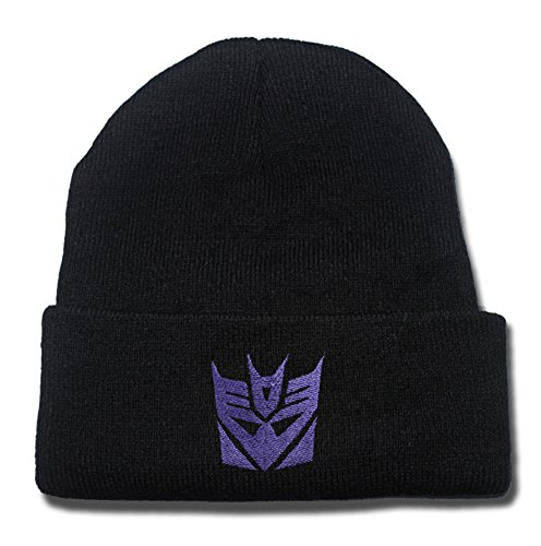 QIANGWEI Transformers Decepticon Logo Beanie Fashion Unisex Embroidery Beanies Skullies Knitted Hats Skull Caps
