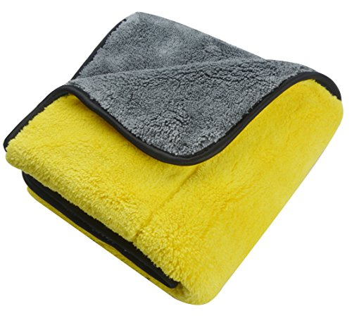 Sinland 1000gsm Ultra Thick Plush Microfiber Car Cleaning Towels Buffing Cloths Super Absorbent Drying Auto Detailing Towel (16″x24″, Yellow/Grey)