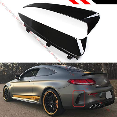 Fits for 2017-2019 Mercedez Benz W205 C43 C63 AMG 2 Door Coupe Glossy Black Rear Bumper Side Vent Insert Canards