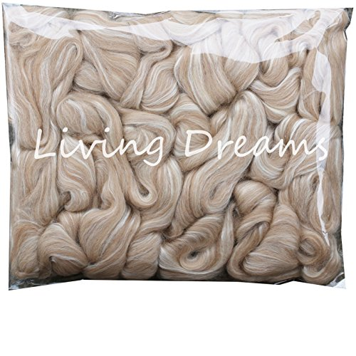 Spinning Alpaca Fiber - Baby Alpaca Silk Fiber Blend. Luxuriously Soft Combed Top Wool Roving for Spinning, Felting, Blending and Other Fiber Crafts. Natural Fawn