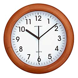 KAMEISHI 12-inch Wooden Wall Clocks Battery Operated Non-Ticking Quiet Sweep Second Silent Round Simple Arabic Numerals Easy to Read Quartz Classic Handmade Wall Clock KSW236U Brown