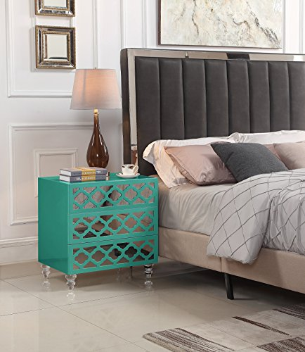 Iconic Home FST2798-AN Bergamo Nightstand Side Table with 3 Self Closing Mirrored Drawers Lacquer Acrylic Legs Modern Contemporary, Turquoise