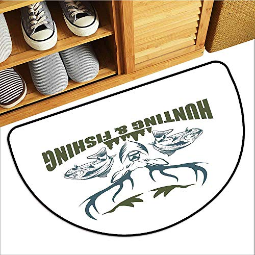 Custom&blanket Non-Slip Door Mat, Hunting Decor Non-Slip Doormats for Office, Artistic Emblem Moose Head Horns Trout Salmon Sea Fishes (Olive Green Slate Blue White, H20 x D32 Semicircle)