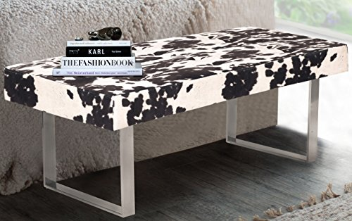 Iconic Home Wayne Faux Cow Fur Modern Contemporary Tufted Seating Square Leg Bench, Udder Madness black by Iconic Home