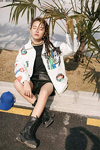 Blanco Fashion Prendas Battercake Exteriores Anchas Mujer Primavera Mujeres Casual Abrigos De Solapa Elegante Casuales Boyfriend Manga Larga Otoño Chaqueta Outerwear Parche Divisa r11wHxE
