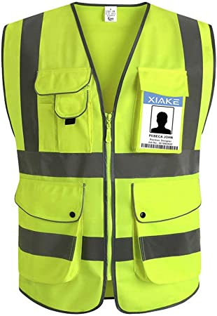 XIAKE Class 2 Reflective Safety Vest with 9 Pockets and Zipper Front High Visibility Safety Vests,ANSIISEA Standards(Small,Yellow)