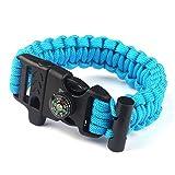 Paracord Survival Bracelet Rope, TRENDINAO New Paracord Survival Bracelet Rope Flint Fire Starter Compass Whistle (Blue)