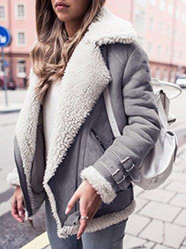 Parka Veste Style Rue Femme Veste Extrieur Hiver Minetom Chauds Manteau De Noir De Daim Mesdames Coat Mode Jacket En Motard qn7wz
