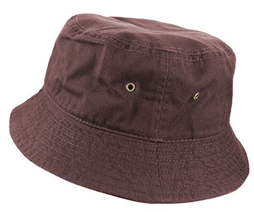 - Gelante 100% Cotton Packable Fishing Hunting Sunmmer Travel Bucket Cap Hat (Large/X-Large, Dark Brown)