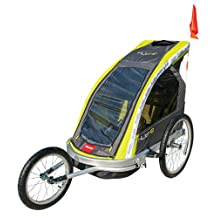 Allen Sports Premier 2-Child Aluminum Bike Trailer/Racing Stroller, Green/Grey
