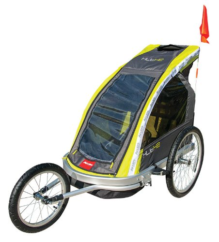 Allen Sports Premier 2 Child Aluminum Bike Trailer/Racing Stroller, Green/Grey