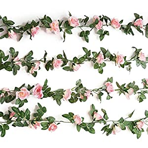Famicitate Artificial Fake Rose Silk Flower with Green Leaf Vine Plastic Hanging Vine Garland Artificial Flora Wreath for Home Yard Fence Wedding Garden Decoration-2PCS(15FT) 45