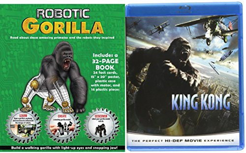 King Kong Blu Ray + Robotic Gorilla Model & Book Movie Bundle Box Set