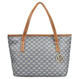 Micom Casual Signature Printing Pu Leather Tote Shoulder Handbag with Metal Decoration for Women (Blue)